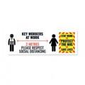 Social Distance Key Worker Sticker 450mm (Pack of 5) Keyworkerstick01