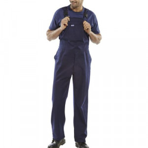 Click Workwear Bib & Brace Cotton Drill Size 42 Navy Blue Ref CDBBN42 *Up  to 3 Day Leadtime*