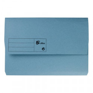 Pack 5 Star Office Document Wallet Half Flap 285gsm Capacity 32mm Foolscap Blue