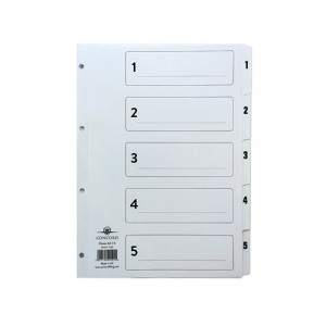 Concord Classic Index 1-5 A4 White Board Clear Mylar Tabs 00501/CS5
