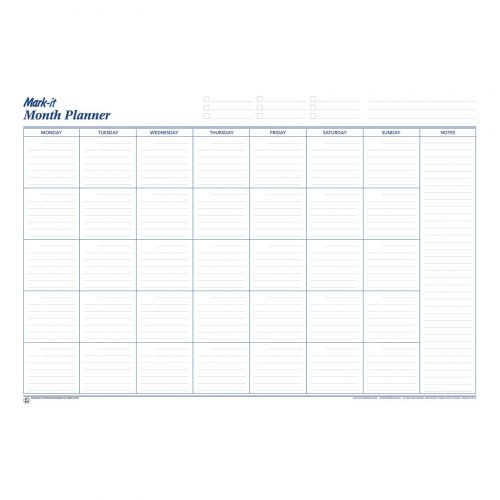 Mark-it Month Planner Laminated with Notes Column ...