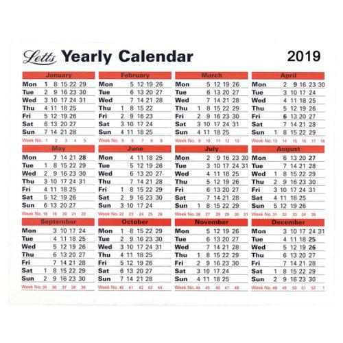 Ltyc19 Letts Yearly Calendar 2019 5 Tyc Greenstationery