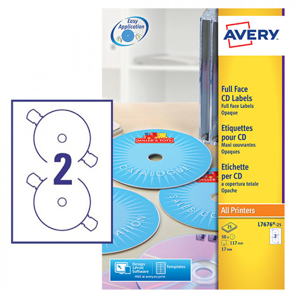 Office Supplies - AVERY LASER LABELS CD L7676-25