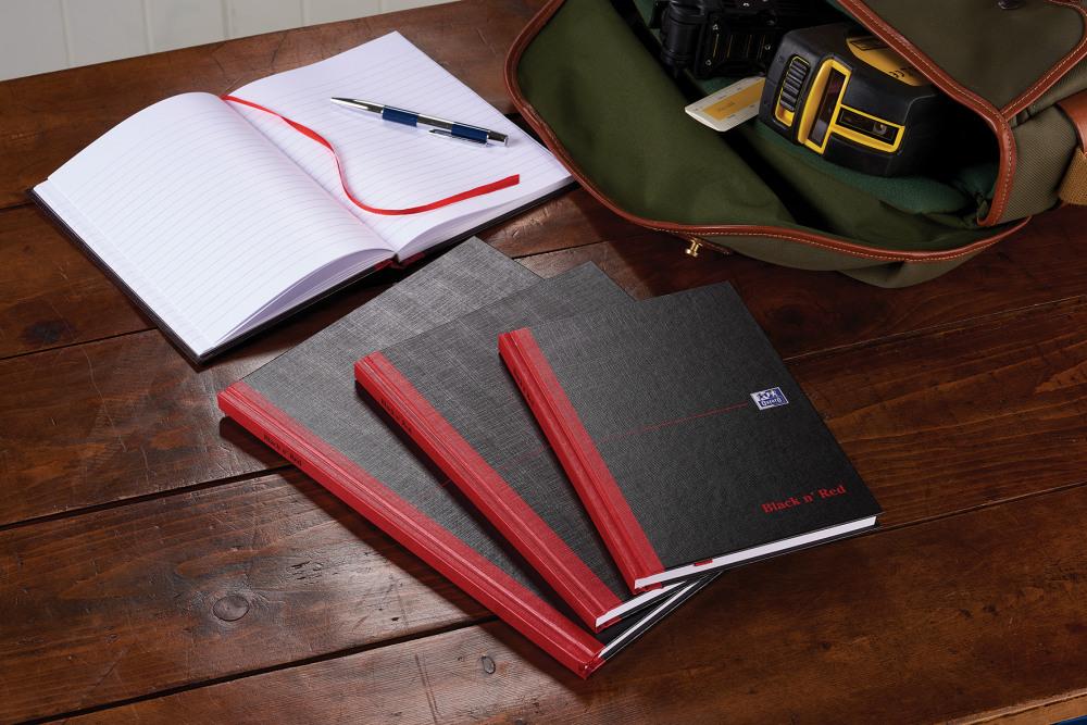 A4 Oxford Black n/' Red Case-bound Hardback Notebook D66174