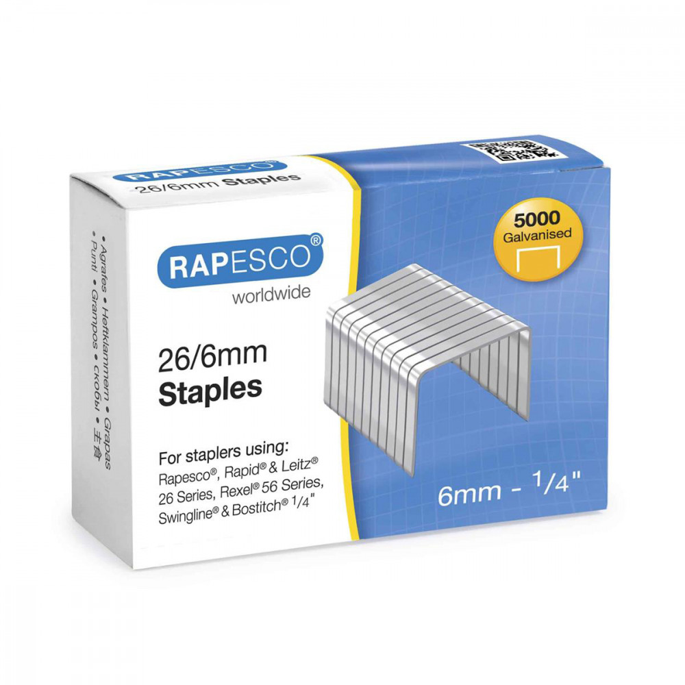 RAPESCO STAPLES 26/6MM BOX 5000 S11662Z3
