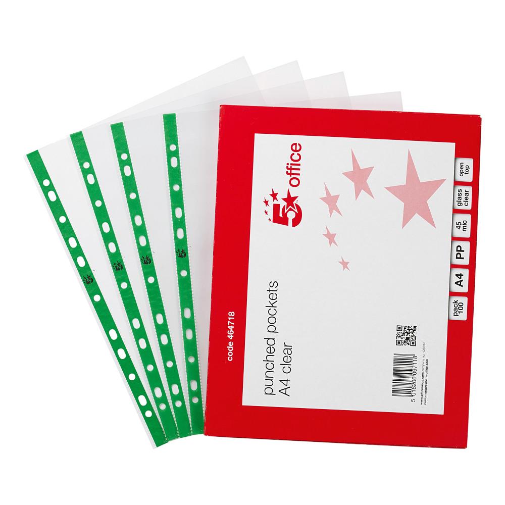 5 STAR OFFICE PCHPKT A4 GLASSCLR PK100