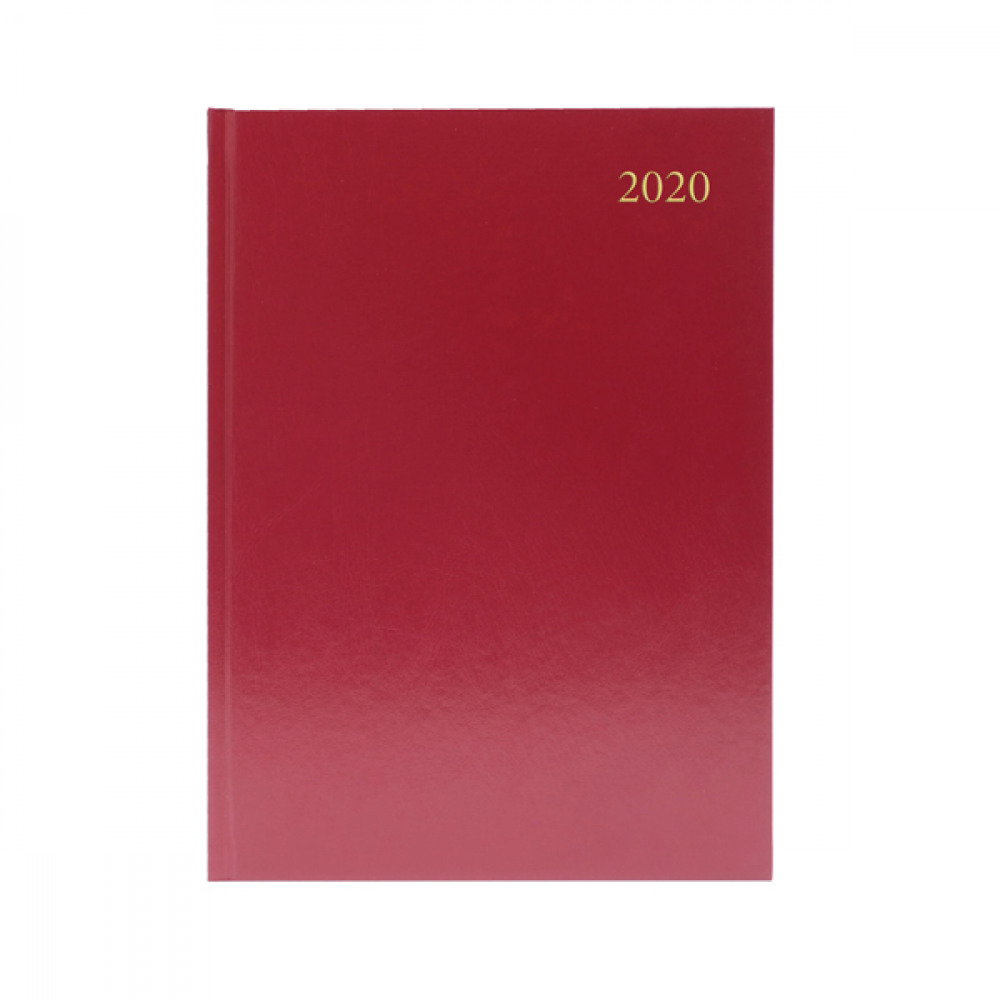 BURGUNDY A5 DESK DIARY DPP 2020