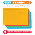 Elba Strongline Document Wallet Bright Manilla Foolscap Assorted (Pack of 25) 100090138