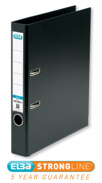 Elba 50mm Lever Arch File Plastic A4 Black 1451-10