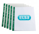 Elba Punch Pocket Green Spine A4 Clear (Pack of 100) 400002137