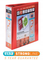 Elba Panorama 65mm 2 D-Ring Presentation Lever Arch File A4 Red (Pack of 5) 400008437