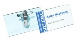 Durable Combi Clip Badge 40x75mm Transparent (Pack of 50) 8141/19