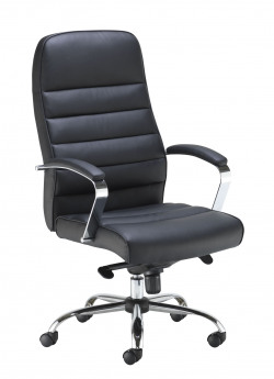 Jemini Ares High Back Executive Chair 690x690x1145-1200mm Leather Look Black KF71521