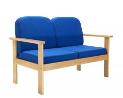 FF First Wooden Reception 2P Sofa Blue OF0313RB