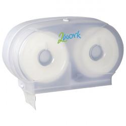 2Work Micro Twin Toilet Roll Dispenser White 2W06438