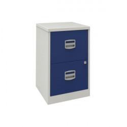 Bisley 2 Drawer A4 Home Filer Grey/Blue (Dimensions: W413 x D400 x H6972mm) PFA2-8748