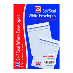 C5 Self Seal Envelopes x 25 White (Pack of 20) OBS31