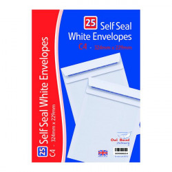 C4 Self Seal Envelopes x 25 White (Pack of 20) OBS755