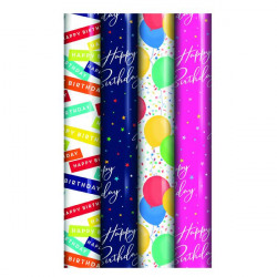Assorted Happy Birthday Gift Wrap (Pack of 39) 27177-GW