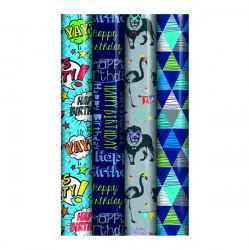 Assorted Blue Happy Birthday Gift Wrap (Pack of 39) 24585-GW