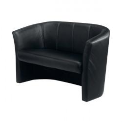 Avior Black 2 Seat Vinyl Tub Sofa KF03528