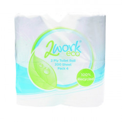 2Work Recycled 2-Ply Toilet Roll 200 Sheets (Pack of 36) KF03809