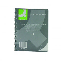 Q-Connect Ruled Margin Spiral Soft Cover Notebook 160 Pages A5 (Pack of 5) KF10039