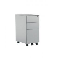 Jemini 3 Drawer Mobile Pedestal Slimline Steel 300x470x615mm Silver KF74157