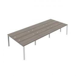 Jemini 6 Person Bench Desk 1200x800mm Grey Oak/White KF808794