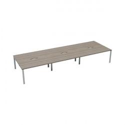 Jemini 6 Person Bench Desk 1400x800mm Grey Oak/White KF809159