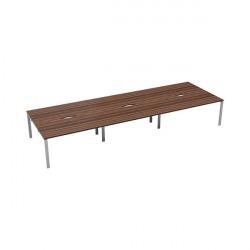 Jemini 6 Person Bench Desk 1400x800mm Dark Walnut/White KF809197