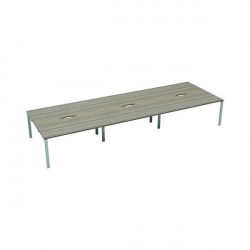 Jemini 6 Person Bench Desk 1600x800mm Grey Oak/White KF809517