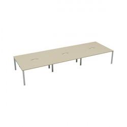 Jemini 6 Person Bench Desk 1600x800mm Maple/White KF809548