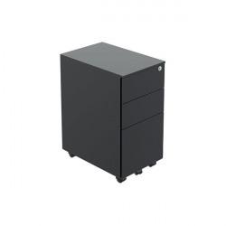 Jemini Contract Steel 3 Drawer Mobile Pedestal Slimline 300x470x615mm Black KF90691
