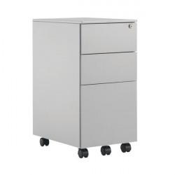 First Steel Slimline Under Desk Pedestal 3 Drawer Silver KF98515