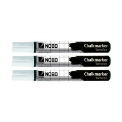 Nobo Chalk Marker White (Pack of 3) 34438398