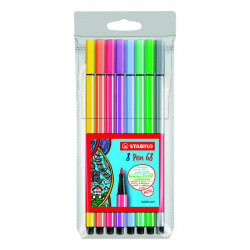 Stabilo Pen 68 Felt Tip Pen 1mm Water-based Ink Wallet Assorted Pastel (Pack of 10) 68/8-01