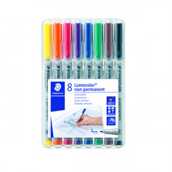 Staedtler Lumocolour Non-Permanent Medium Assorted (Pack of 8) 315-WP8
