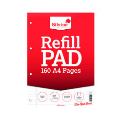 Silvine Ruled Headbound Refill Pad A4 160 Pages (Pack of 6) A4RPFM