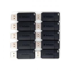 Verbatim Pinstripe USB Drive 16GB Push/Pull Black (Pack of 10) 49046