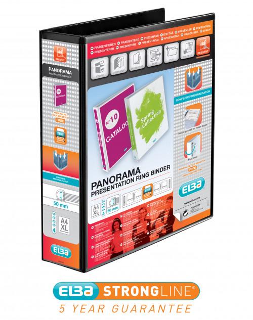 Elba Panorama 50mm 4 D-Ring Presentation Binder A4 Black (Pack of 4) 400008430