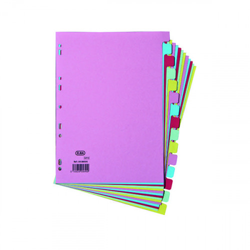 Elba 15-Part Card Divider Recycled Manilla A4 Assorted 100080774