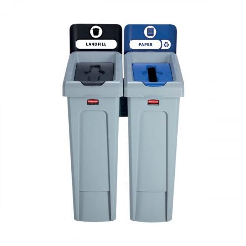 Rubbermaid Slim Jim 2 Stream Recycling Station Black/Blue 2057605