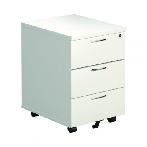 Jemini 3 Drawer Mobile Pedestal 400x500x595mm White KF74148