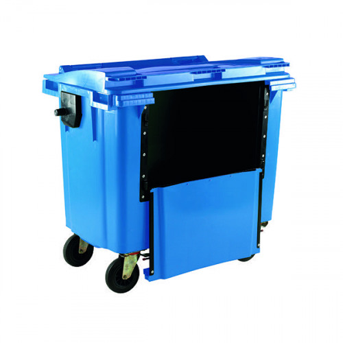 Wheelie Bin With Drop Down Front 770 Litre Blue 377965