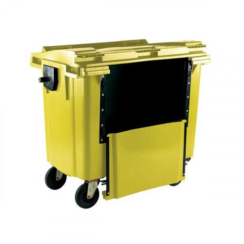 Wheelie Bin With Drop Down Front 1100 Litre Yellow 377977