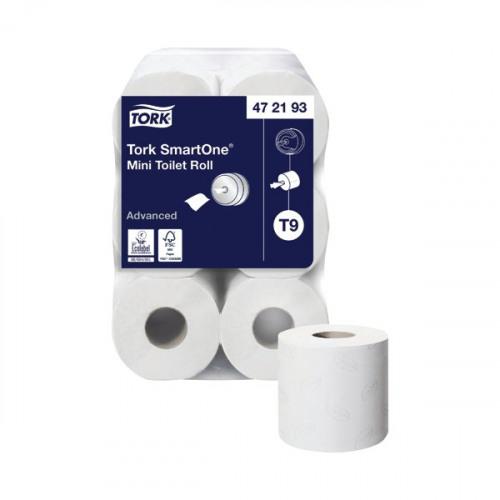 Tork T9 SmartOne Mini Toilet Roll 2-Ply 620 Sheets (Pack of 12) 472193