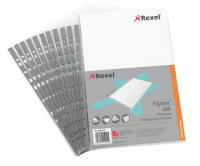 Rexel Nyrex Premium Presentation Pockets Top-opening 90 Micron A4 Glass Clear Ref 2001018 [Pack 50]