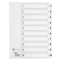 Business Index 1-10 Multipunched Mylar-reinforced Strip Tabs 150gsm A4 White
