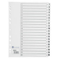 Business Index 1-20 Multipunched Mylar-reinforced Strip Tabs 150gsm A4 White